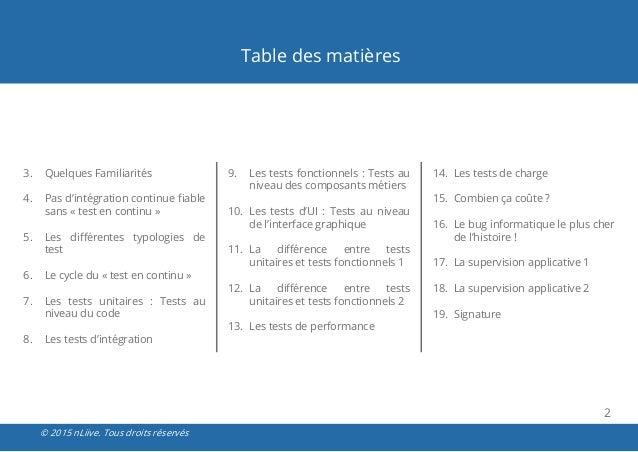 Avis d 39 expert les tests logiciels - Difference entre sommaire et table des matieres ...