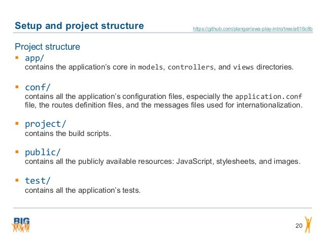 Setup and project structure 20 Project structure  app/ contains the application's core in models, controllers, and views ...