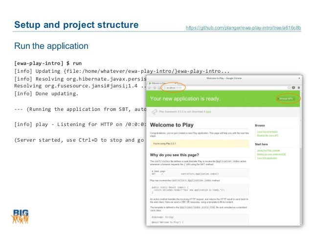 Setup and project structure 22 Run the application [ewa-play-intro] $ run [info] Updating {file:/home/whatever/ewa-play-in...