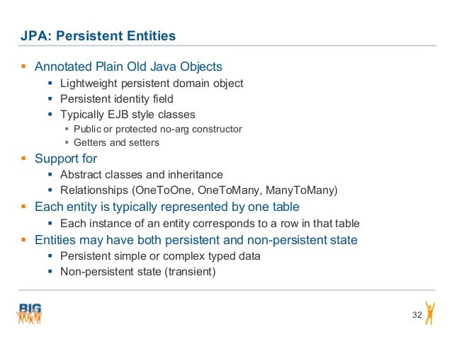 JPA: Persistent Entities 32  Annotated Plain Old Java Objects  Lightweight persistent domain object  Persistent identit...