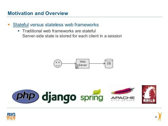 Motivation and Overview 4  Stateful versus stateless web frameworks  Traditional web frameworks are stateful Server-side...