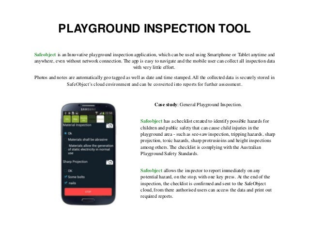 Playground inspection tool sa