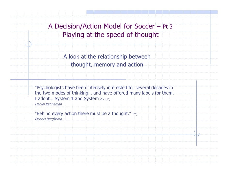 A Decision/Action Model for Soccer – Pt 3           Playing at the speed of thought                  A look at the relatio...