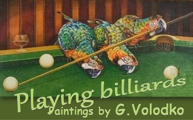 Animals playing billiards...