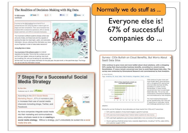 Everyone else is! 67% of successful companies do ... Normally we do stuff as ...