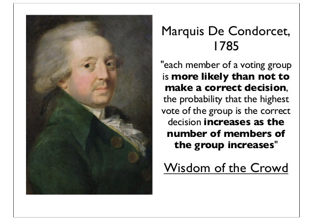 """Marquis De Condorcet, 1785 """"each member of a voting group is more likely than not to make a correct decision, the probabil..."""