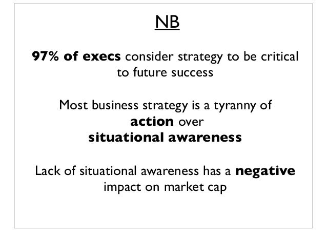 NB 97% of execs consider strategy to be critical to future success Lack of situational awareness has a negative impact on ...