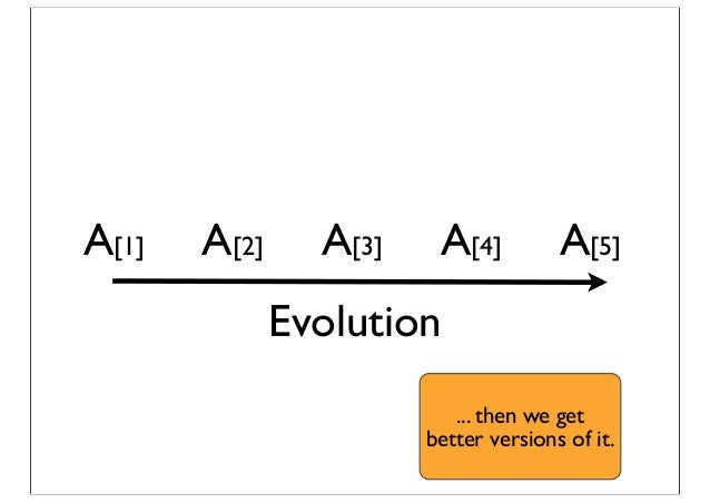 A[1] A[2] A[3] A[4] A[5] Evolution ... then we get better versions of it.