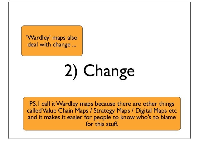 2) Change 'Wardley' maps also deal with change ... PS. I call it Wardley maps because there are other things calledValue C...