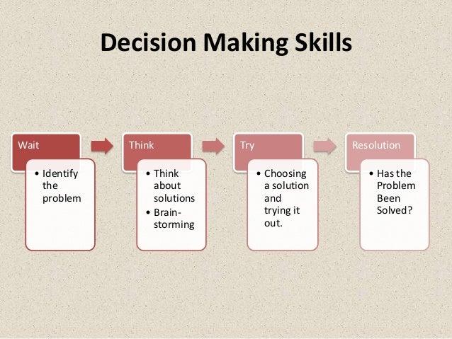 Decision Making SkillsWait              Think            Try                  Resolution   • Identify        • Think      ...