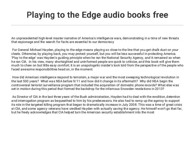 Playing To The Edge Audio Books Free