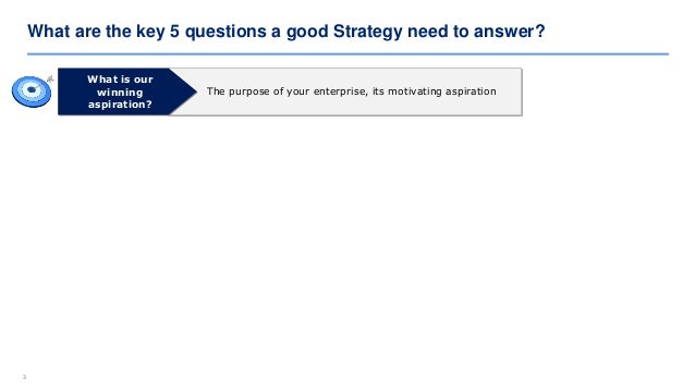 33 What are the key 5 questions a good Strategy need to answer? The purpose of your enterprise, its motivating aspiration ...