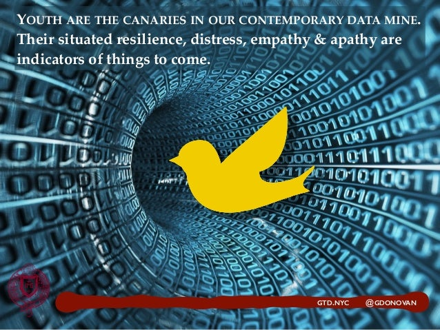 YOUTH ARE THE CANARIES IN OUR CONTEMPORARY DATA MINE. Their situated resilience, distress, empathy & apathy are indicators...