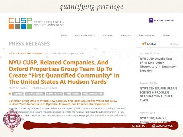 GTD.NYC @GDONOVAN quantifying privilege