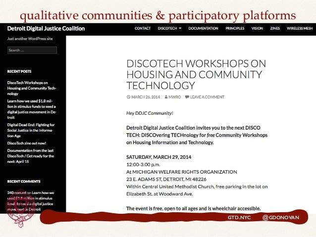 GTD.NYC @GDONOVAN qualitative communities & participatory platforms