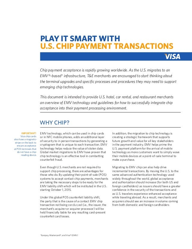PLAY IT SMART WITH U.S. CHIP PAYMENT TRANSACTIONS Chip payment acceptance is rapidly growing worldwide. As the U.S. migrat...