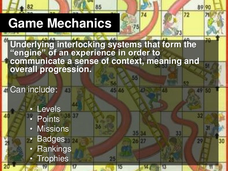 "Game Mechanics<br />Underlying interlocking systems that form the ""engine"" of an experience in order to communicate a sens..."