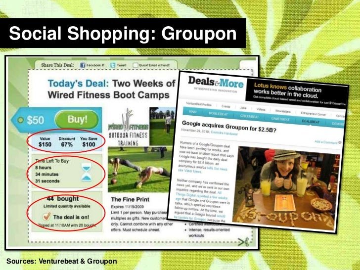 Social Shopping: Groupon<br />Sources: Venturebeat & Groupon<br />
