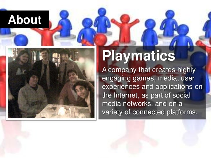 About<br />Playmatics<br />A company that creates highly engaging games, media, user experiences and applications on the I...