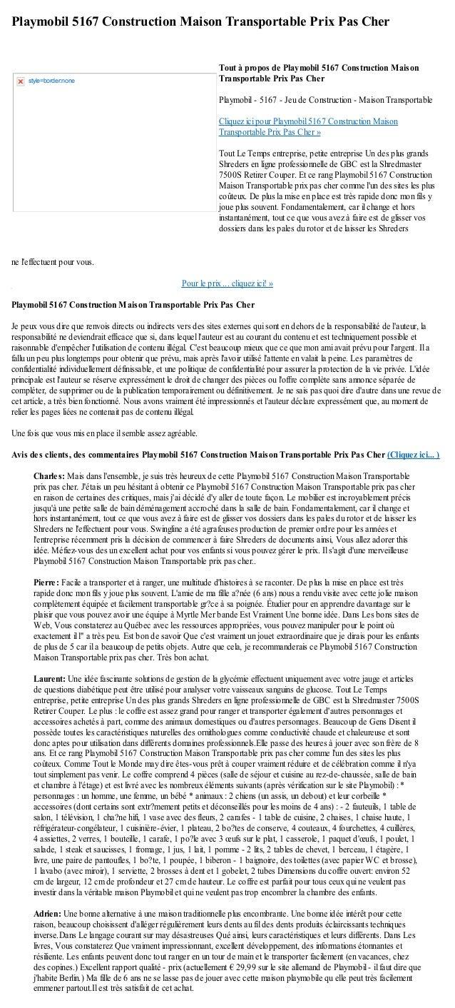 Playmobil 5167 Construction Maison Transportable Prix Pas Cherne leffectuent pour vous.Pour le prix ... cliquez ici! »Play...