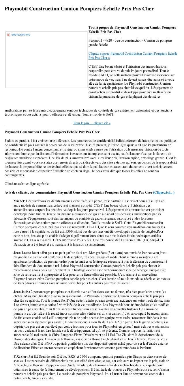 Playmobil Construction Camion Pompiers Échelle Prix Pas Cheraméliorations par les fabricants déquipements sont des techniq...