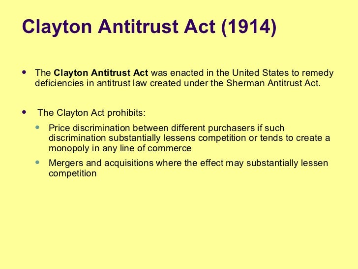 clayton act On january 17, the federal trade commission revised the thresholds that determine whether companies are required to notify federal antitrust authorities about a transaction under section 7a of the clayton act, the hart-scott-rodino (hsr) antitrust improvements act.