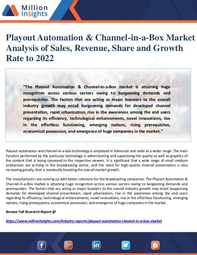 Playout Automation & Channel-in-a-Box Market Analysis of Sales, Reven…