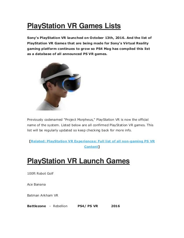 Playstation vr games list pdf