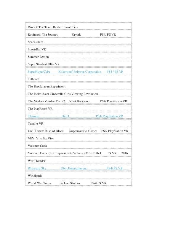 Playstation vr games list pdf