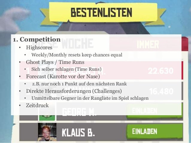 1. Competition • Highscores •  Weekly/Monthly resets keep chances equal  • Ghost Plays / Time Runs •  Sich selber schlagen...