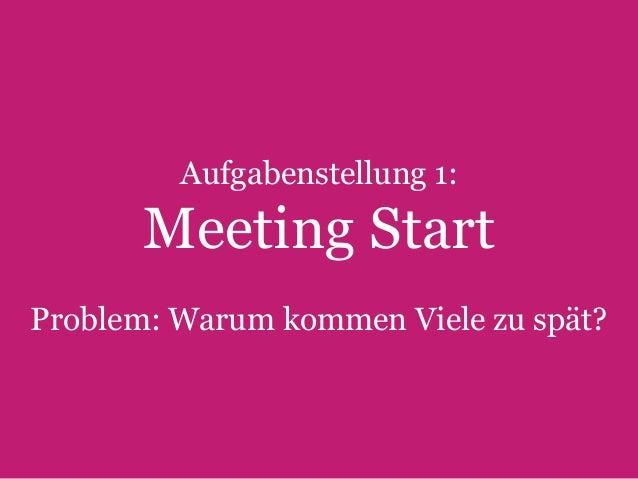 Aufgabenstellung 1:  Meeting Start Problem: Warum kommen Viele zu spät?  23  Text Slide