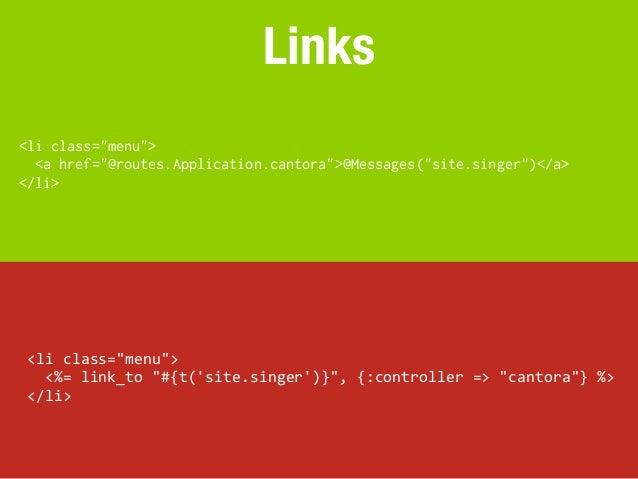 """Links<li class=""""menu"""">  <a href=""""@routes.Application.cantora"""">@Messages(""""site.singer"""")</a></li> <li class=""""menu"""">   ..."""