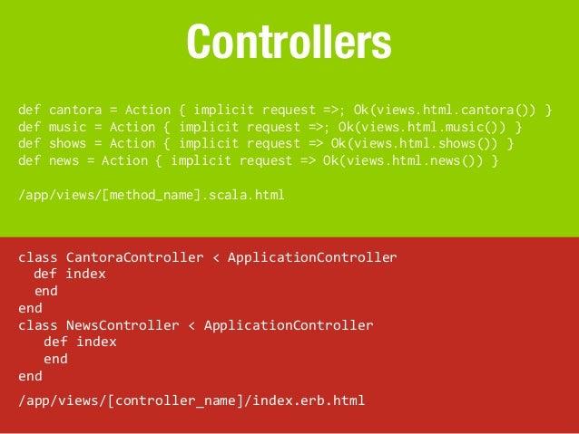 Controllersdef   cantora = Action { implicit request =>; Ok(views.html.cantora()) }def   music = Action { implicit request...