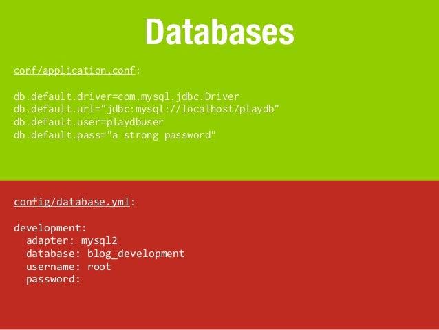 "Databasesconf/application.conf:db.default.driver=com.mysql.jdbc.Driverdb.default.url=""jdbc:mysql://localhost/playdb""db.def..."
