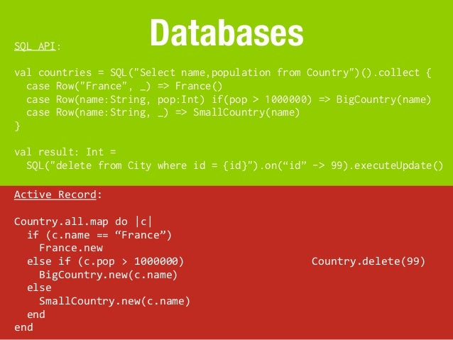 """SQL API:                          Databasesval countries = SQL(""""Select name,population from Country"""")().collect {  case Ro..."""