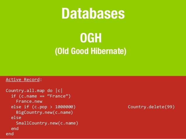 Databases                                                OGH                              (Old Good Hibernate)Active Rec...