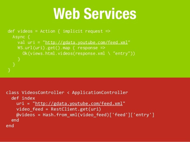 """Web Servicesdef videos = Action { implicit request =>  Async {    val uri = """"http://gdata.youtube.com/feed.xml""""    WS.url(..."""