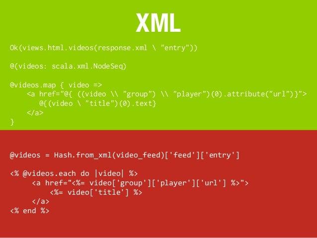 "XMLOk(views.html.videos(response.xml  ""entry""))@(videos: scala.xml.NodeSeq)@videos.map { video =><a href=""@{ ((video  ..."