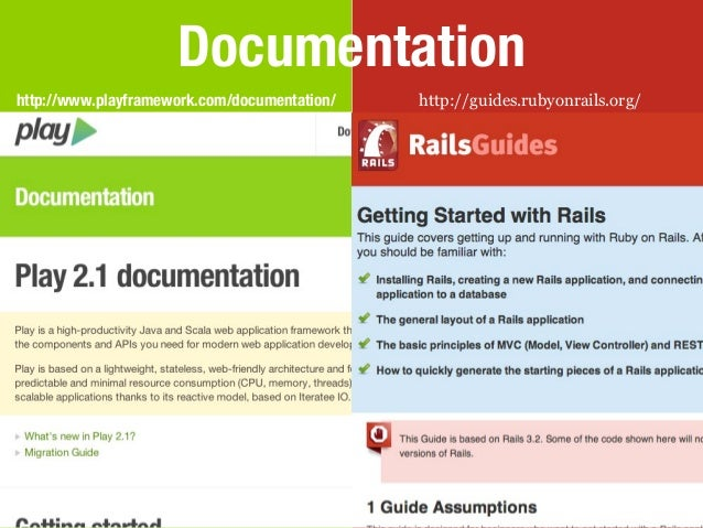 Documentationhttp://www.playframework.com/documentation/   http://guides.rubyonrails.org/