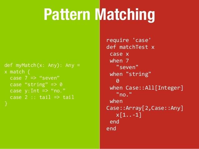 Pattern Matching                             require case                             def matchTest x               ...