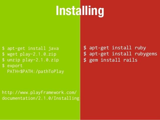 Installing$   apt-get install java         $ apt-‐get install ruby$   wget play-2.1.0.zip          $ apt-‐get ...