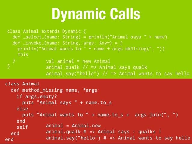 "Dynamic Calls class Animal extends Dynamic                {   def _select_(name: String)                = println(""Animal ..."