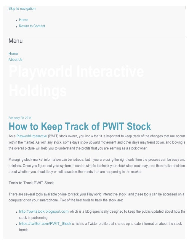 playworld interactive holdings how to keep track of playworld inter