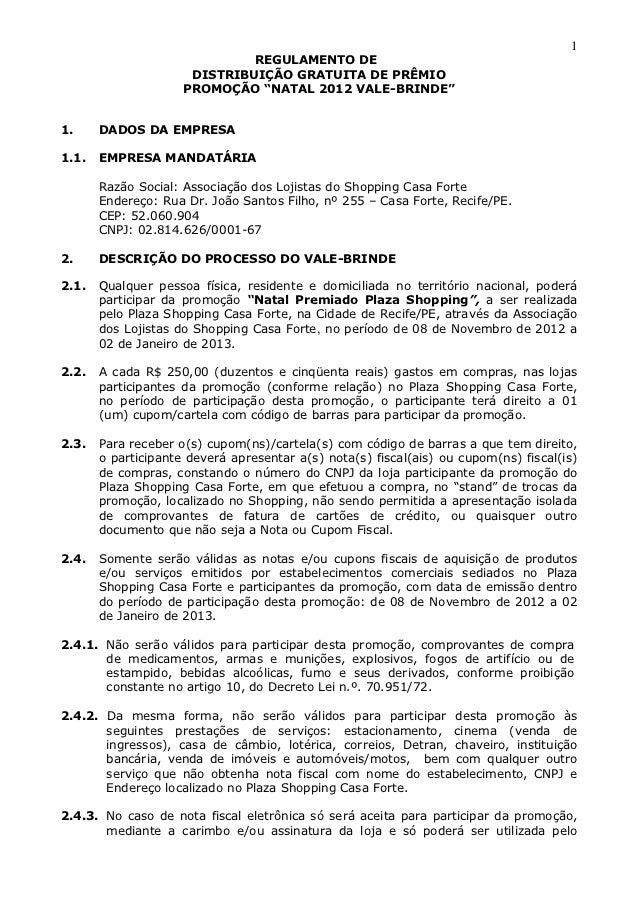 1                              REGULAMENTO DE                      DISTRIBUIÇÃO GRATUITA DE PRÊMIO                     PRO...