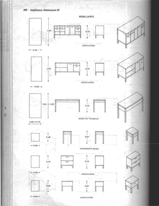 Plazola arquitectura habitacional 3 for Dimensiones de mobiliario
