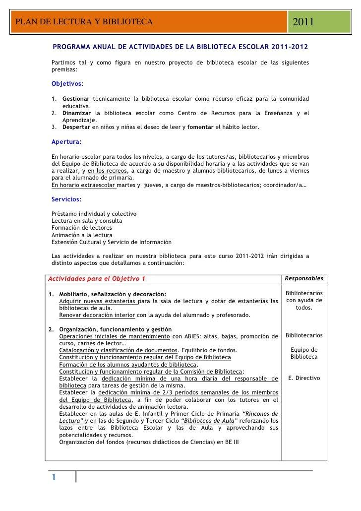 PLAN DE LECTURA Y BIBLIOTECA                                                                   2011       PROGRAMA ANUAL D...