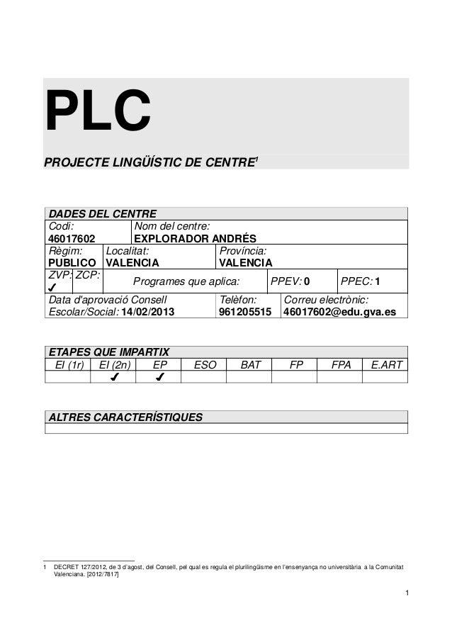 PLC PROJECTE LINGÜÍSTIC DE CENTRE1 DADES DEL CENTRE Codi: 46017602 Nom del centre: EXPLORADOR ANDRÉS Règim: PUBLICO Locali...