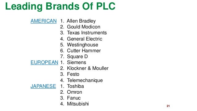 21  Leading Brands Of PLC  AMERICAN1. Allen Bradley  2. Gould Modicon  3. Texas Instruments  4. General Electric  5. Westi...