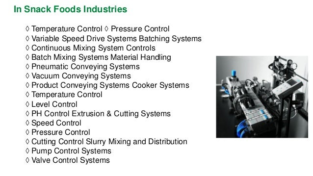 In Snack Foods Industries  ◊Temperature Control ◊Pressure Control  ◊Variable Speed Drive Systems Batching Systems  ◊Contin...