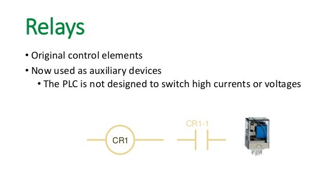 CR1  CR1-1  Relays  • Original control elements  • Now used as auxiliary devices  • The PLC is not designed to switch high...
